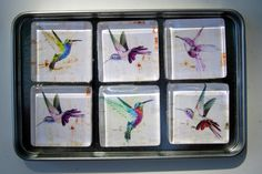 Hummingbird Refrigerator Magnets, Set of 6 Hummingbird Fridge Magnets in Storage Tin by DLRjewelry on Etsy https://www.etsy.com/listing/238172197/hummingbird-refrigerator-magnets-set-of
