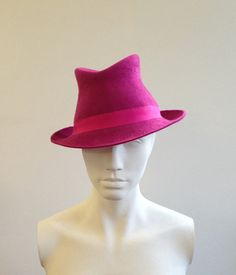 Pink Felt Trilby  Great felt hat perfect for by CoutureHatsbyBeth