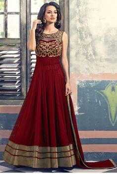 Buy trendy dark red georgette designer anarkali suit with najneen chiffon dupatta online in India at Manavika.com.