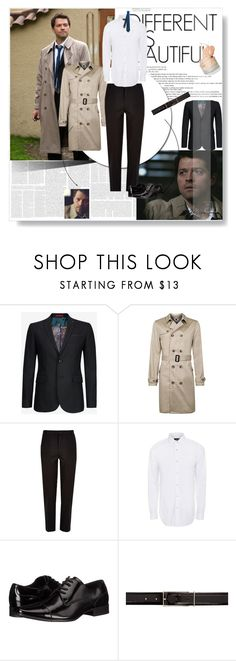 """Supernatural:Castiel"" by foreverhungry-321 ❤ liked on Polyvore featuring Ted Baker, Topman, River Island, Paul Smith, Calvin Klein, Maison Margiela, Burberry, men's fashion, menswear and outfit"
