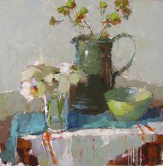 "Barbara Flowers, ""Small Bouquet"", Oil on Canvas, 36x36 - Anne Irwin Fine Art"