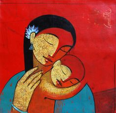 Artodyssey: Ganesh Patil-mother and child Mother Painting, Family Painting, Baby Painting, Love Painting, Painting & Drawing, Summer Painting, Mother And Child Drawing, Mother Art, Indian Art Gallery
