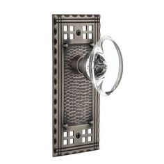 Nostalgic Warehouse Oval Clear Crystal Glass Passage Door Knob with Craftsman Plate Finish: