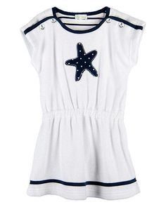 FUN Le Top SAIL AWAY White Navy Nautical Terry Coverup Dress Girls (sz 12m-6x) ~ Color Me Happy Boutique