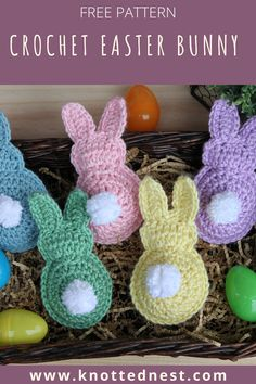 This fast and easy free Easter Bunny crochet pattern would make a great Easter basket gift or string them together for an adorable decoration! Crochet Crafts, Yarn Crafts, Easy Crochet, Free Crochet, Crochet Amigurumi, Crochet Toys, Knit Crochet, Crochet Animals, Yarn Projects
