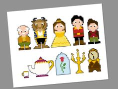 Beauty and the Beast Pixel People Character Cross Stitch PDF PATTERN ONLY