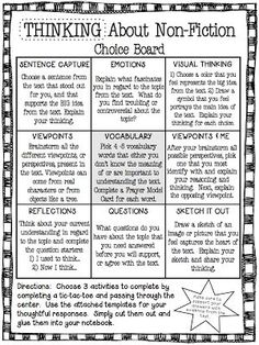 With the CCSS emphasizing non-fiction text, this choice board is a perfect way to engage students. This choice board focuses on student thinking, and works well with collaborative groups. Students choose 3 activities to complete making a tic-tac-toe, and Reading Strategies, Reading Skills, Teaching Reading, Reading Comprehension, Guided Reading, Reading Bingo, Efl Teaching, Teaching Themes, Comprehension Strategies
