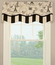 Parisian Script Lined Layered Scalloped Valance $69.95