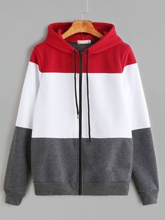 Color Block Drawstring Hooded Zip Up Sweatshirt - ropa - Hoodie Sweatshirts, Sweater Hoodie, Hoodies, Classy Outfits, Casual Outfits, Fashion Outfits, Mode Hijab, Korean Fashion, Tops