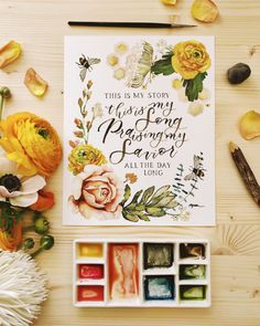 Modern Calligraphy & Watercolor Art... — Art & Faith Creative Lettering Styles, Lettering Design, Hand Lettering, Calligraphy Watercolor, Modern Calligraphy, Watercolor Artists, Watercolor Paintings, This Is My Story, Graphic Design Typography