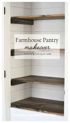 Create a beautiful farmhouse pantry makeover by adding DIY shiplap and stained wood shelves. This custom look can make any pantry stunning and functional. Kitchen Pantry Design, Kitchen Decor, Kitchen Ideas, Kitchen Soffit, Kitchen Cabinets, Kitchen Worktop, Decorating Kitchen, Bathroom Cabinets, Bathroom Faucets