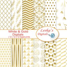 Gold digital paper:WHITE GOLD digital scrapbook by DigitalWork