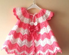crochet pattern baby girl crochet dress pattern baby shower gift little girl chevron infant dress Handmade Crochet PDF Pattern 0-9 Month Baby girl Baby crochet dress, for special occasions and baby shower.  This is a crochet baby pattern with detailed explanations in images ! The price is just for the digital pattern,NOT for the finished item !  Pattern is suitable for one size 0-9 month.All children's garments are stated in standard US Catalog size, which is an approximate size. Not all…