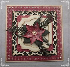 Elly's Card Corner: Poinsettia Christmas Card.