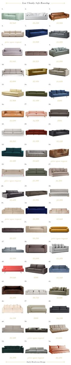 A roundup of low, chunky, on-trend sofas in a range of price - great resource and tons of inspiring photos from Emily Henderson // Sofa buying guide