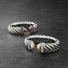 The David Yurman Waverly Collection is a wide, sculptural take on the iconic Cable bracelet. Discover a brilliant range of gemstones combinations.