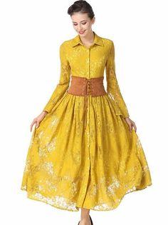 Fashion Turn Down Collar Single Breasted Lace Maxi Dress