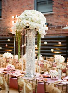 Tall Jeweled Reception Centerpiece one expensive piece with the rest be fairly cheap