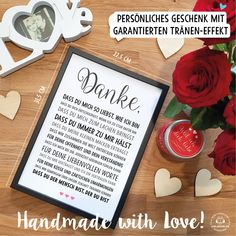 THANKS love – picture optionally with frame – declaration of love gift idea birthday valentine wedding anniversary anniversary christmas man woman
