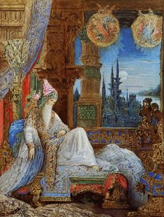 Gustave Moreau - The Dream Haunting The Mogul - 1881 - Private Collection Moreau's symbolist oeuvre inspired by La Fontaine's verse fable, The Mogul's Dream ( Jean de La Fontaine - The Complete Verse Tale Anthology ) Arte Peculiar, Art Du Monde, Pre Raphaelite, Art Database, French Artists, Oeuvre D'art, Art World, Canvas Art Prints, Art History