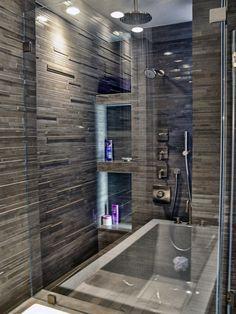 bathroom remodel tub shower combo | ceiling shower into big tub Tub Shower Combo Design, Pictures, Remodel ...