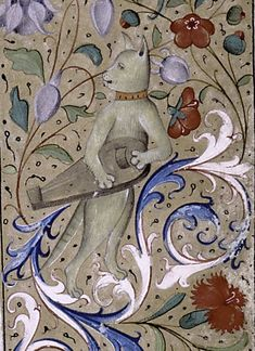 musical cat from book of hours, France 15th century. New York Public Library, MA 47, fol. 29r