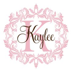 Name And Initial Vinyl Wall Decal Shabby Chic Damask By Wallartsy - Custom vinyl wall decals damask