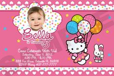Hello Kitty is a cute cartoon characters, cat girls who have beautiful arc, nice clothes and have many friends. A Hello Kitty invitation cards are often used for parties young girl. Hello Kitty Invitation Card, Hello Kitty Birthday Invitations, Birthday Invitation Card Template, Personalized Birthday Invitations, Birthday Party Invitations, Invitation Cards, Invitation Layout, Christening Invitations, Printable Invitations