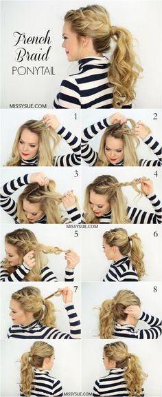Side French Braid Ponytail Hairstyle Tutorial #hair #hairstyles #hairtips   hairstyles     hairstyle tutorials   http://caroortiz.com