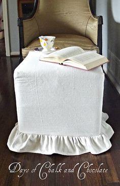 Ruffled ottoman slipcover tute- w/dropcloth