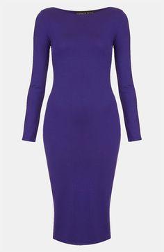 Topshop Body-Con Midi Dress (Petite) Purple 2P