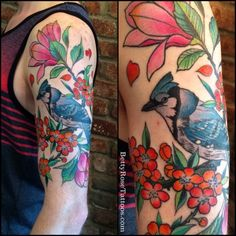 This colorful half-sleeve was Betty's client's first tattoo. Betty drew inspiration from photographs of real-life blue jays and magnolia flowers… Cover Up Tattoos, Leg Tattoos, Arm Tattoo, Sleeve Tattoos, Shoulder Henna, Flower Tattoo Shoulder, Flower Tattoo Hand, Flower Tattoos, Blue Jay Tattoo