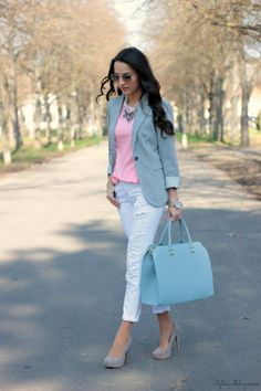 serenity blue blazer with rose quartz top with pants. L ove the blazer color with white pants!