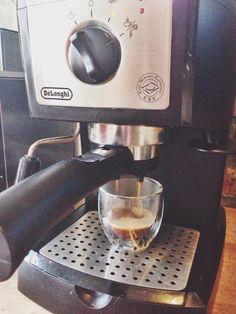 Preheat oven to the lowest temperature. Brew desired amount of espresso. Espresso Powder, Espresso Machine, Brewing, Coffee Maker, Oven, Kitchen Appliances, Espresso Coffee Machine, Coffee Maker Machine, Diy Kitchen Appliances