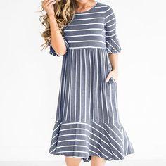 Retro Dress Butterfly Sleeve Flared Elegant Striped Splice Pleated Dress 79049317d971