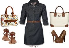 womencasual trends 2013 images | Casual and Work Outfits | Denim Belted Dress | Fashionista Trends