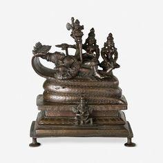 A COPPER ALLOY FIGURE OF SHESHASHAHI VISHNU, Southern India, 17/18th Century CE, Live Auction, December 17, 2014