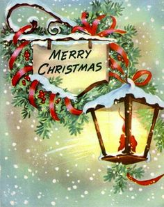 Vintage Christmas Card, Glowing Lantern (¯`'•.ೋ