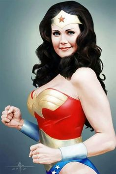 Painting of Lynda Carter as Wonder Woman