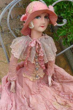Antique French Boudoir Doll Paris RARE Silk Hat FASHION1920 | eBay