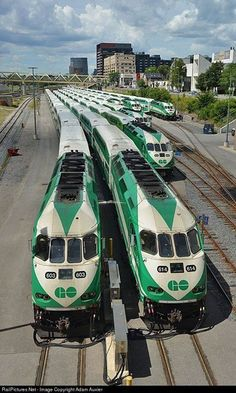 "..Toronto: Greater Toronto area suburban commuter trains (""Go Trains""), assembled and ready for the morning rush."