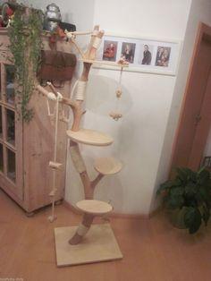 Natur Kratzbaum Holz Katzenbaum Spielbaum Sisal Höhe 192 cm handgefertigt Unikat | eBay