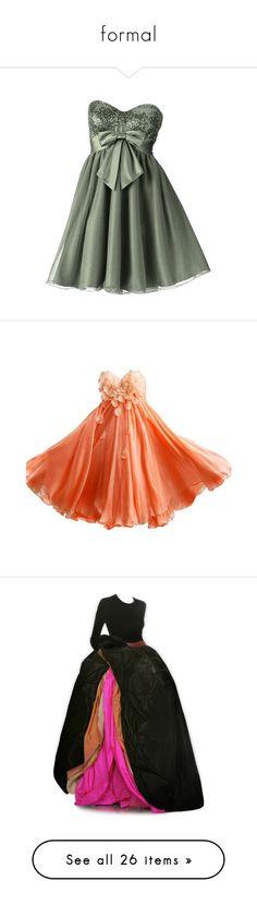 """formal"" by burn-notice ❤ liked on Polyvore featuring dresses, vestidos, green color dress, green dress, gowns, orange, petal dress, summer dresses, orange dresses and prom dresses"