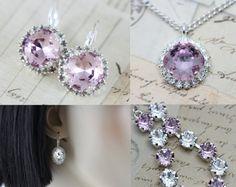 Silver Jewelry Set Lilac Purple Bracelet by inspiredbyelizabeth