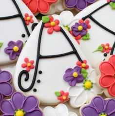 Floral Alphabet Cookies ~ Gorgeous! Sweet for a baby or bridal shower or special birthday for a girl. <3