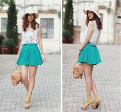 Chiffon Floral Blouse, Turquoise Skirt With Pearl Chains, Kate Spade Elephant Basket, Marni Bow Sandals