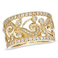 I like the silver/platinum one better, but I only wear gold jewelry... Anyhoo, this is a cute ring...