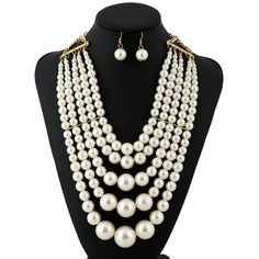 Fashion Exaggerated Multilayer Pearl Necklace Set For Women High Quality Glass Pearl Bridal Jewelry Sets For Wedding Party