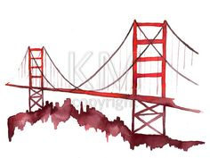 Red Watercolor Print of Golden Gate Bridge, Scenic wall art and home decor. San Francisco wall art