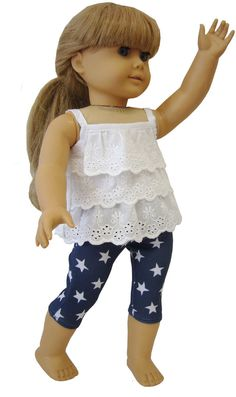 "Navy Star Capri's and Eyelet Ruffle Top fits 18"" American Girl Doll Clothes #DollClothesSewBeautiful"